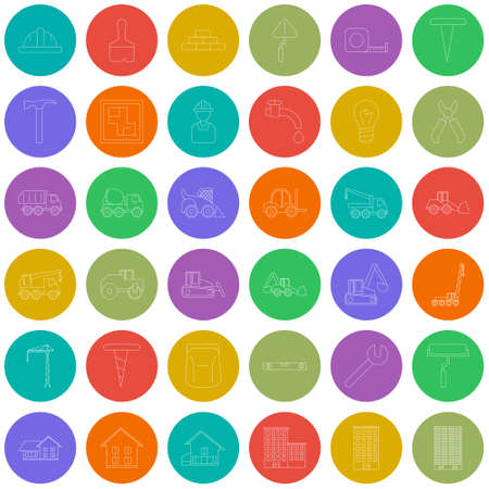 Vector Big set with vector icons for construction and building illustration EPS 10outline construction colorful circles icons Illustration