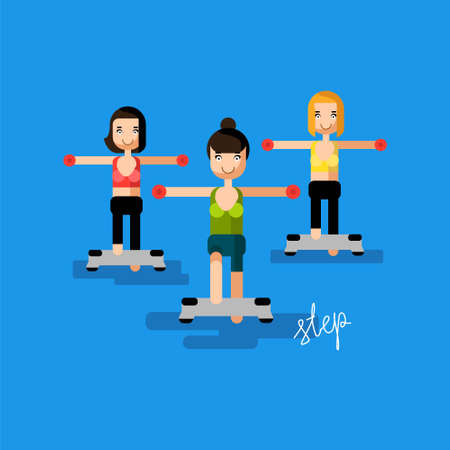 Sport woman doing step aerobics at flat vector fitness illustration. Art have calligraphy word step