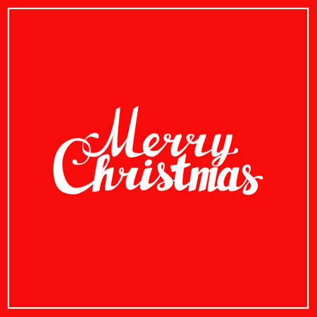 caligraphy: Holidays hand lettering words merry christmas caligraphy on red background Illustration