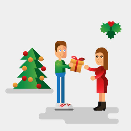 Vector flat style illustration for Christmas holidays. Man giving a gift for woman near omela and christmas tree
