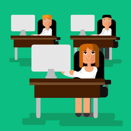 time sharing: Flat modern vector illustration with office life. Woman at work place working at computer with team