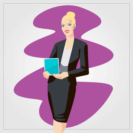 Vector business finance illustration with woman showing tablet in the office. Comic style artwork