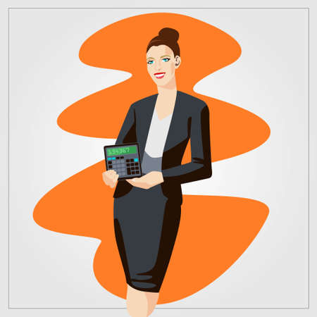 Vector business finance illustration with woman showing calculator in the office. Comic style artwork Illustration