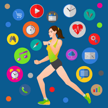 Vector illustration concept for smart watches theme with fitness woman running