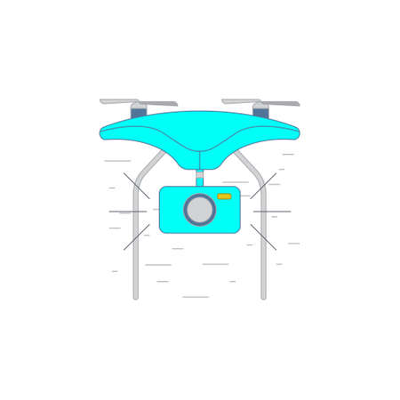 pictogramm: Vector concept illustration of drone with photo camera icon in outline style