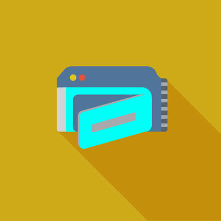 Vector concept illustration of video camera in flat style with long shadow