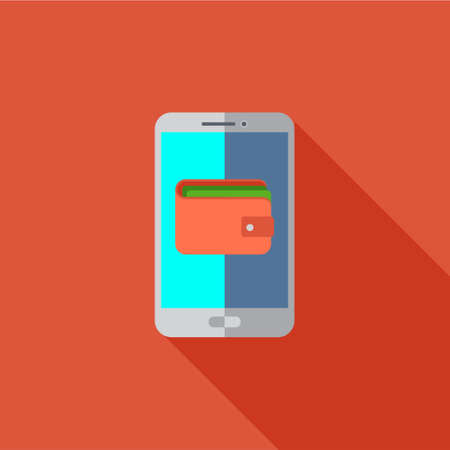 pictogramm: Vector illustration or icon for smartphone with mobile wallet in flat style with long shadow