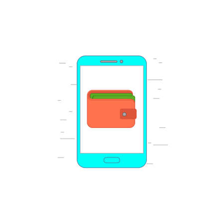 pictogramm: Vector illustration or icon for smartphone with mobile wallet in outline style with noisy background