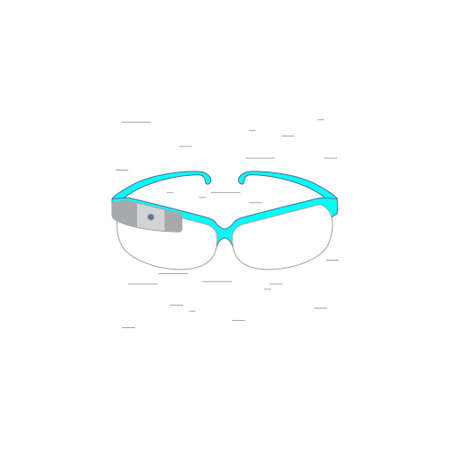 pictogramm: Vector illustration of augmented reality smart glasses in outline style with noisy background