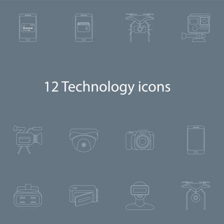 techology: Vector illustration icons set of 12 techology images in outline style
