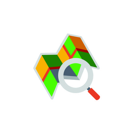 Vector icon or illustration showed search on map with magnifying glass in materail design style