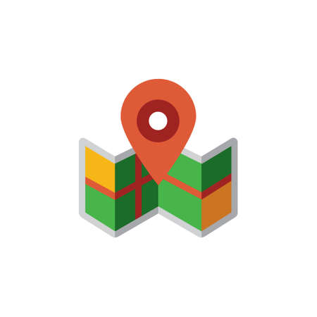 Vector icon or illustration showing map with geo location icon in material design style