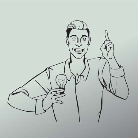 comix: Vector illustration of man with lamp showing finger up and says idea in line art comic style
