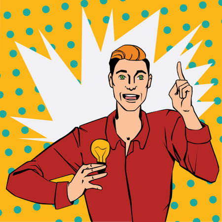 though: Vector illustration of man with lamp showing finger up and says idea in pop art comic style