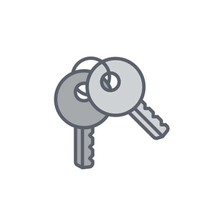 locked the door: Vector icon or illustration showing access with two keys in outline style Illustration