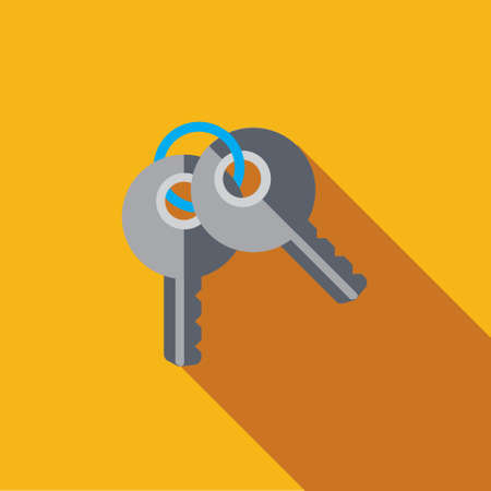 Vector icon or illustration showing access with two keys in flat design style with long shadow