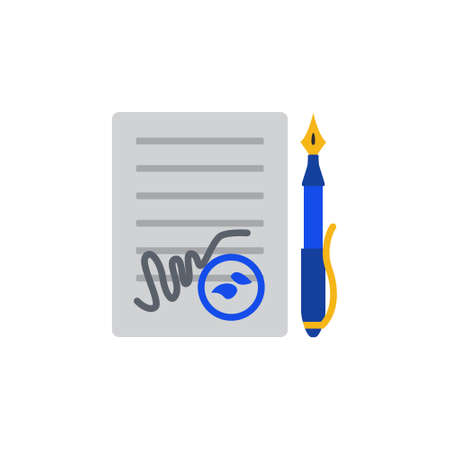 signing papers: Vector icon or illustration showing contract signing with pen and stamp in material design style