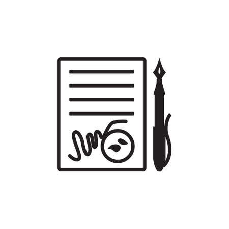 signing papers: Vector icon or illustration showing contract signing with pen and stamp in black color style on white background Illustration