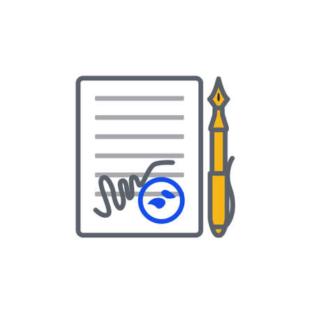 signing papers: Vector icon or illustration showing contract signing with pen and stamp in outline style