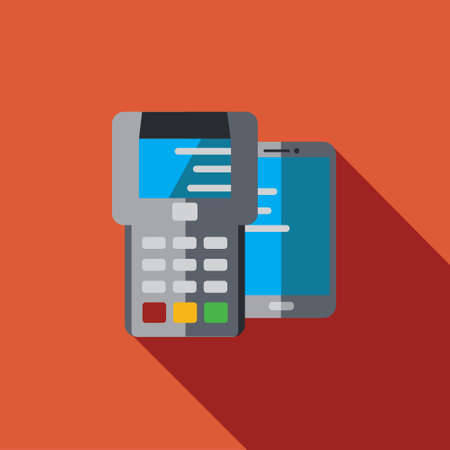 hardware store: Vector icon or illustration showing payment with terminal and smart phone in flat design style with long shadow Illustration