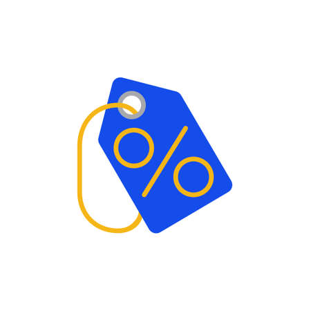 Vector icon or illustration showing discount with procent sign on label in material design style Illustration