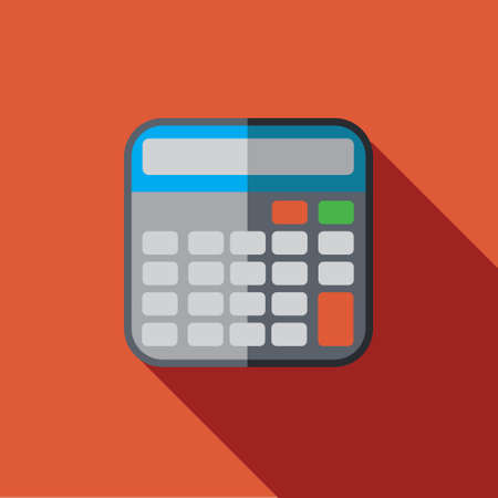 computation: Vector icon or illustration showing computation with calculator in flat design style with long shadow