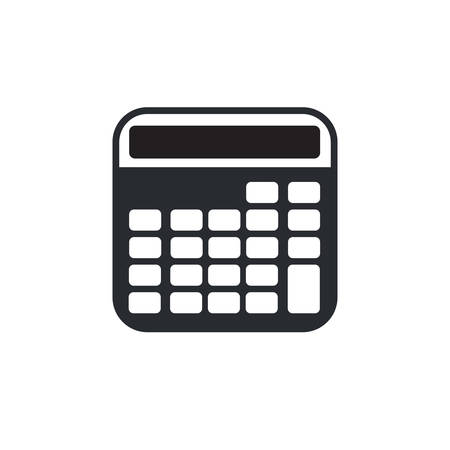 computation: Vector icon or illustration showing computation with calculator in black color style on white background
