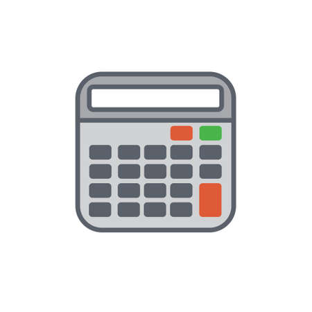 computation: Vector icon or illustration showing computation with calculator in outline style