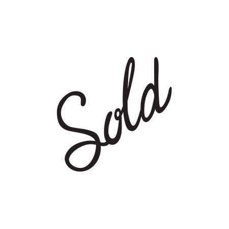 wit: Vector icon or illustration showing sales at shop wit word sold hand lettering calligraphy in black color style on white background