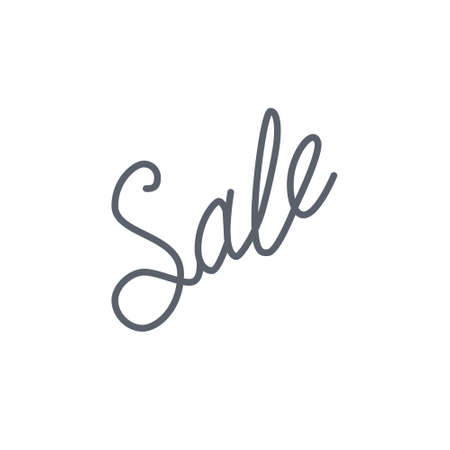 Vector icon or illustration showing sales at shop wit word sale hand lettering calligraphy in outline style Stock Photo