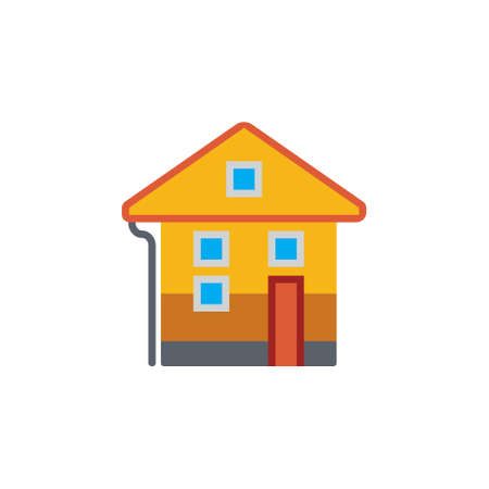 dollhouse: Vector icon or illustration showing real estate business with house in material design style