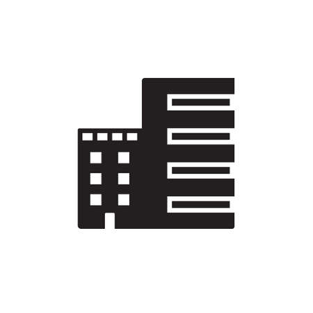 penthouse: Vector icon or illustration showing real estate business with office building in black color style on white background Illustration