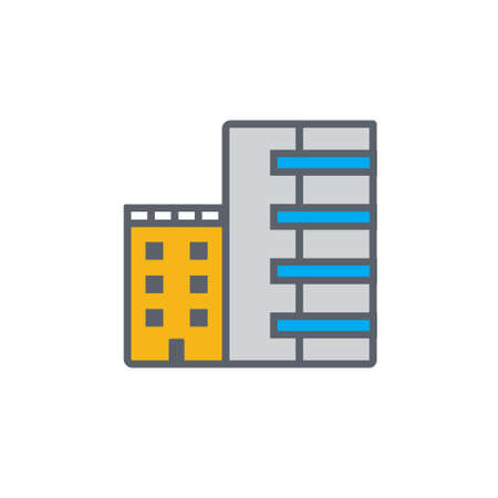 penthouse: Vector icon or illustration showing real estate business with office building in outline style