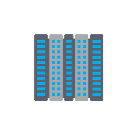 penthouse: Vector icon or illustration showing real estate business with office building in material design style Illustration
