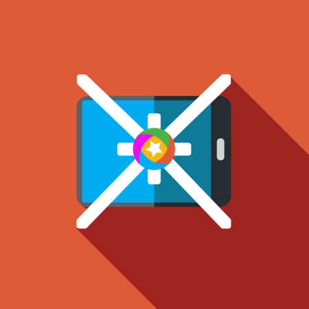 context: Vector icon or illustration showing mobile advertise in flat design style