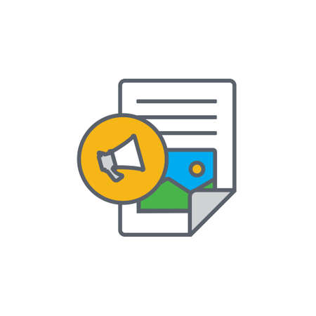 www: Vector icon or illustration showing text and image content in outline style