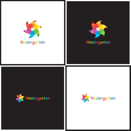 perinola: Vector eps logotype or illustration showing children education center with whirligig
