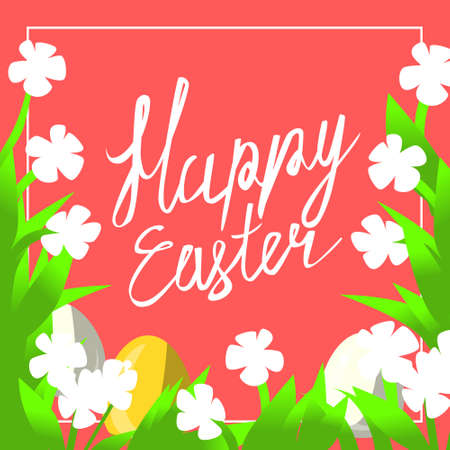 Vector greeting card for happy easter with hand lettering calligraphy and Illustrations