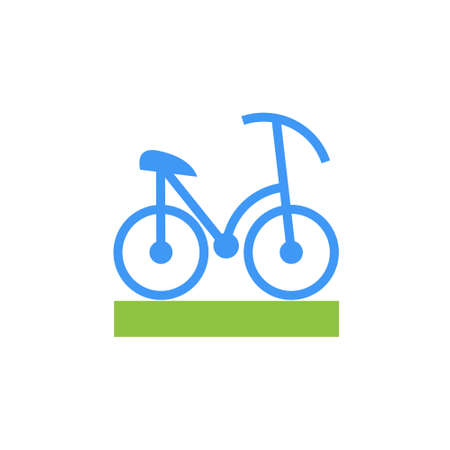 Icon or illustration showing riding bicycle in material design style