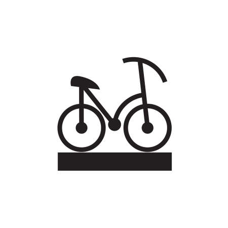Black Vector icon or illustration showing riding bicycle in one color