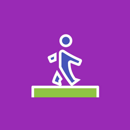 rd: Vector icon or illustration showing walking human in outline style Illustration