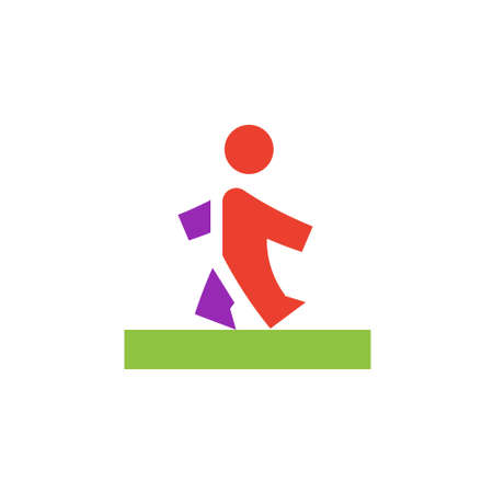 rd: Vector icon or illustration showing walking human in material design style Illustration