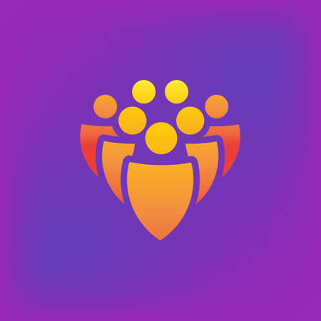 Vector icon or illustration showing group of people in brutalism style