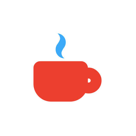 Vector icon or illustration showing cup of coffee or tea in material design style