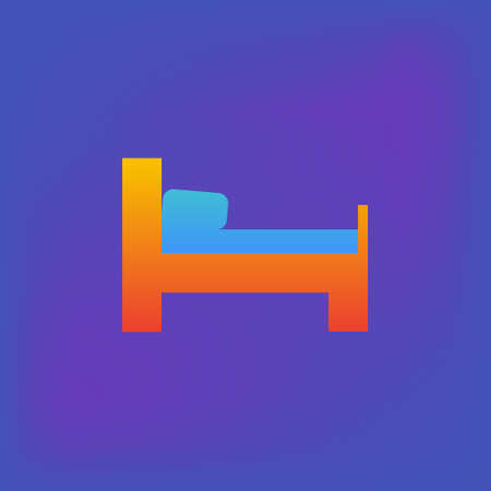 Vector icon or illustration showing bed in hotel room in brutalism style Illustration