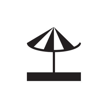 Vector icon or illustration showing umbrella on the sand in one color