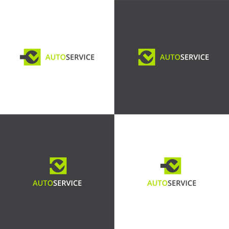Vector eps logotype about car service works in eps 10 horizontal and vertical view Illustration