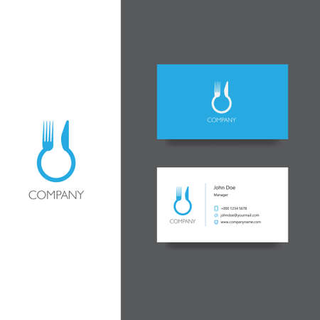 plate: Vector eps logo for food delivery, eat service or restoraunt company, Business Card Template, icon design