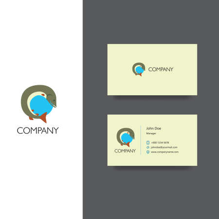 Vector eps logo design for fishing goods or club company, Business Card Template, icon design