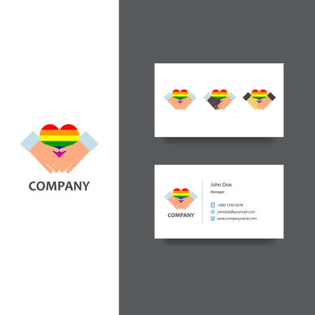 mariage: Gay community or services company logo and business card template